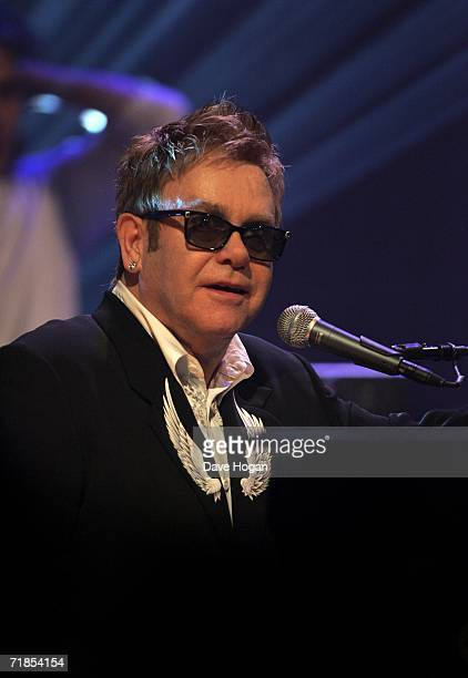 Elton John performs on stage at a BBC showcase at LSO St Luke's on September 11 2006 in London England Johns new album 'The Captain and the Kid' is...
