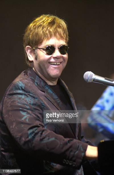 Elton John performs on stage at Ahoy, Rotterdam, Netherlands, 11th June 2002.