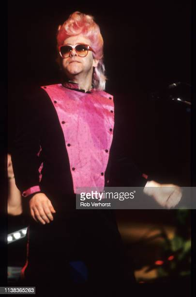Elton John performs on stage at Ahoy, Rotterdam, Netherlands, 23rd April 1986.