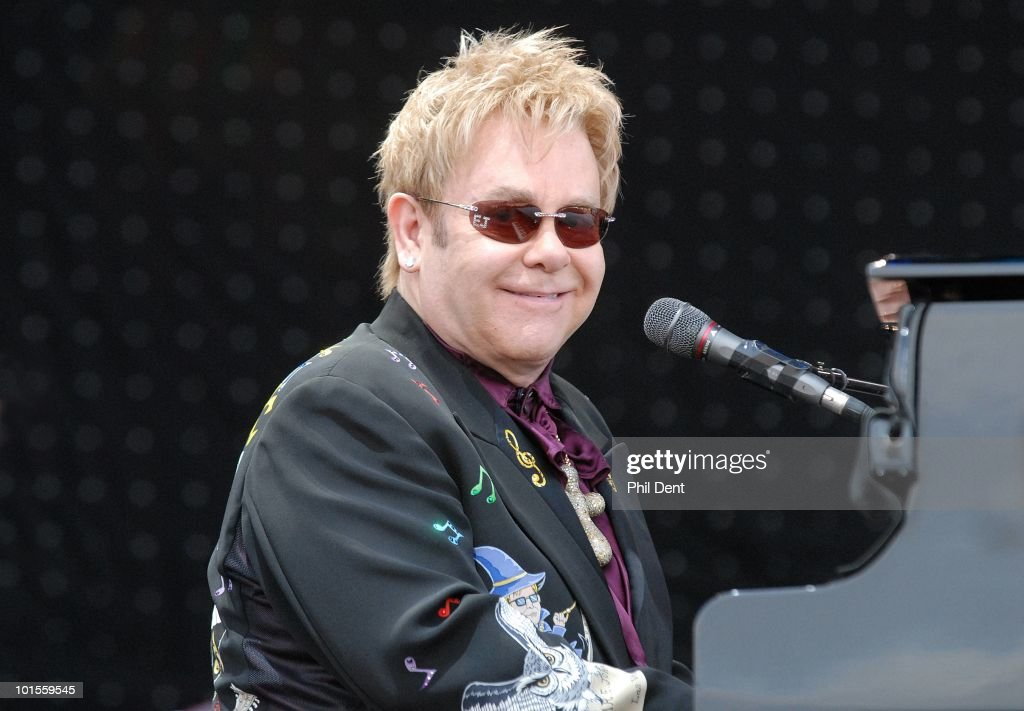 Elton John performs on stage at Mercedes-Benz World on 13th July 2008 in Weybridge, Surrey, United Kingdom.
