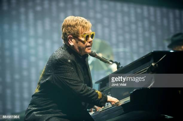 Elton John performs on stage at Palau Sant Jordi on December 3 2017 in Barcelona Spain