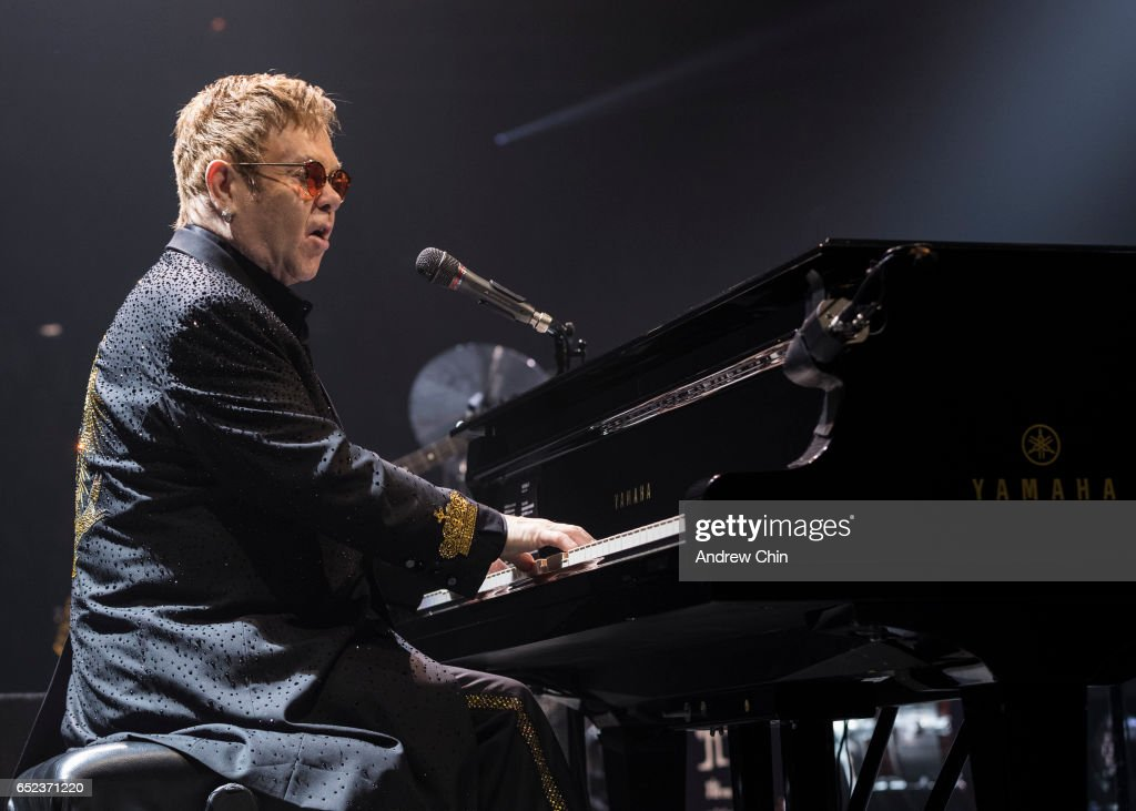 Elton John performs on stage at Save On Foods Memorial Centre on March 11, 2017 in Victoria, Canada.