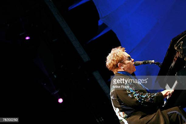 Elton John performs on stage at the Tempus Two Winery on December 1 2007 in the Hunter Valley Australia
