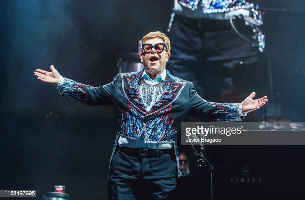 Elton John performs on stage at WiZink Center on June 26, 2019 in Madrid, Spain.