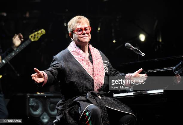 Elton John performs onstage during his Farewell Yellow Brick Road tour at PPL Center on September 8 2018 in Allentown Pennsylvania