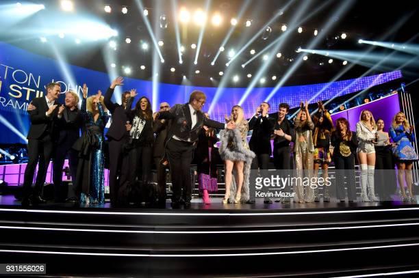 Elton John performs onstage during the finale with Miley Cyrus Kesha SZA Miranda Lambert Hailee Steinfeld Little Big Town Alessia Cara Neil Patrick...