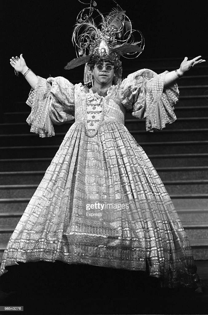 Elton John pictured wearing a typically flamboyant costume 3rd December 1984.