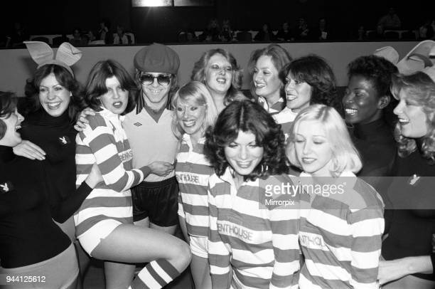 Elton John pictured with Bunny Girls and Penthouse Pets during a 5 a side football match which Elton's team won Empire Pool Wembley 6th November 1977