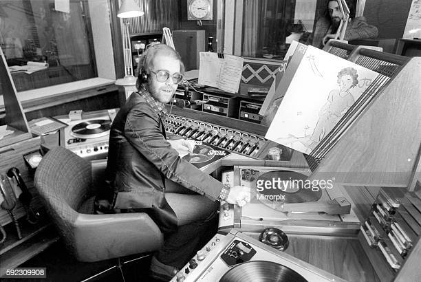 Elton John records his first programme as a disk jockey at the BBC this afternoon March 1975 7501207