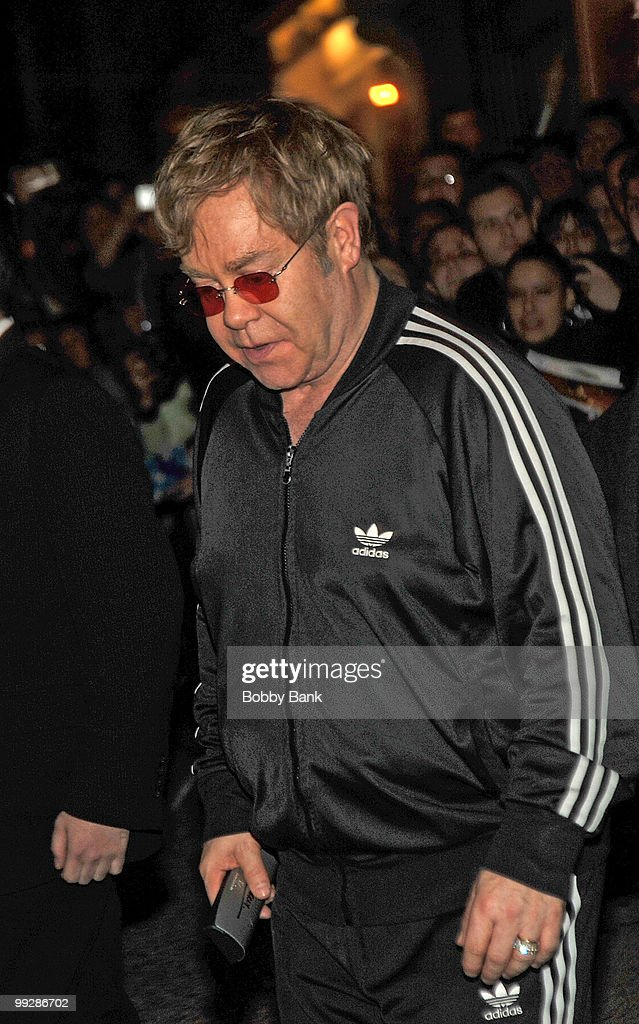 Elton John seen leaving the Almay Concert to celebrate the Rainforest Fund's 21st birthday at Carnegie Hall in Manhattan on May 13, 2010 in New York City.