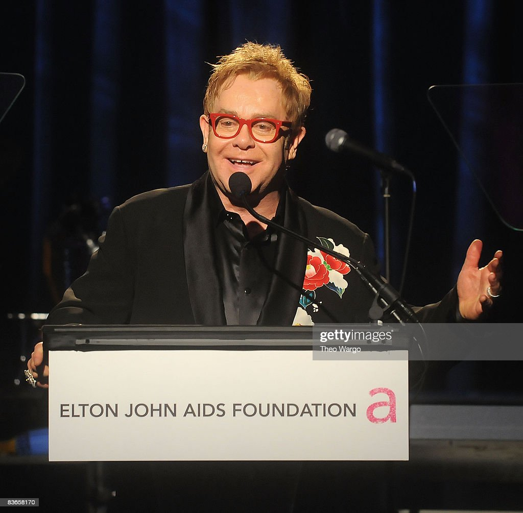 Elton John speaks during 'An Enduring Vision' the 7th Annual Elton John Aids Foundation Benefit at Cipriani Wall Street on November 11, 2008 in New York City.