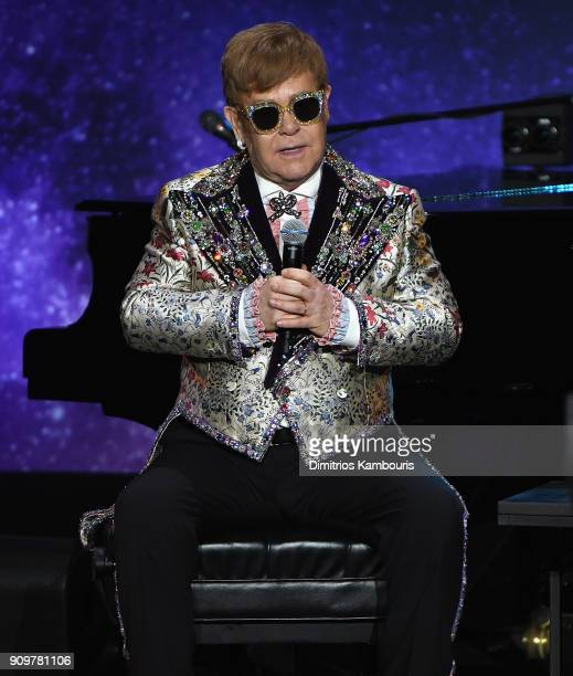 Elton John speaks during the Elton John Special Announcement at Gotham Hall on January 24 2018 in New York City