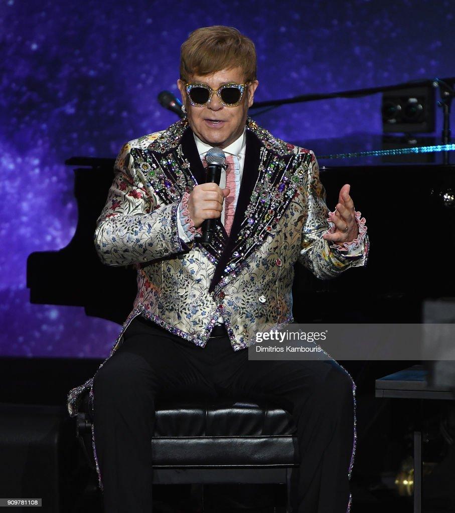 Elton John speaks during the Elton John Special Announcement at Gotham Hall on January 24, 2018 in New York City.