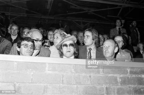 Elton John watching the football match, West Bromwich Albion v Watford. Final score 1-0 to West Bromwich Albion. League Cup 3rd round, 25th October...