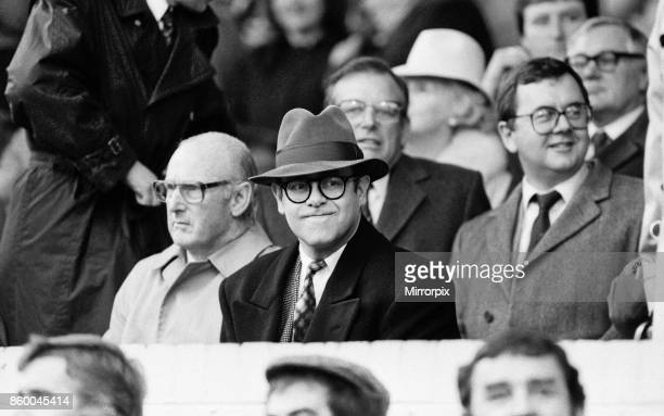 Elton John watching the Oxford United v Watford football match. Final score 1-1. League Division One. Elton John had announced days before that he...