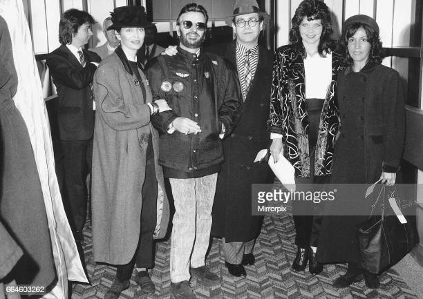 Elton John with wife, Renate Blauel and friends including Ringo Starr about to board Concorde, 21st January 1988.