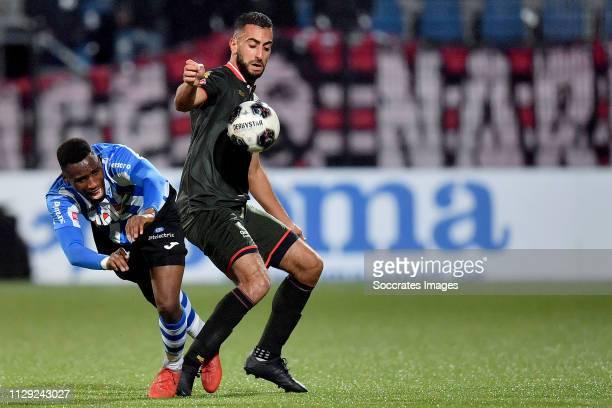 Elton Kabangu of FC Eindhoven Adil Auassar of Sparta Rotterdam during the Dutch Keuken Kampioen Divisie match between FC Eindhoven v Sparta at the...
