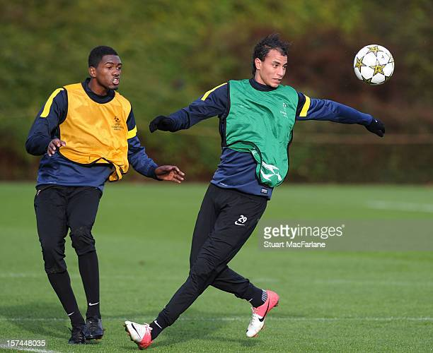 Elton Monteiro and Marouane Chamakh of Arsenal during a training session at London Colney on December 03, 2012 in St Albans, England.
