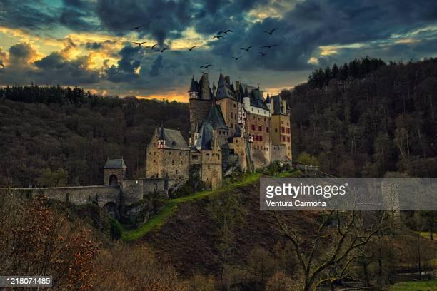 eltz castle near münstermaifeld, eifel - germany - romantic sunset stock pictures, royalty-free photos & images