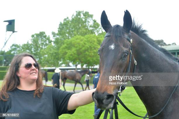 Elusive Shine with Nicole Dickson after winning the bet365 Protest Promise 0 58 Handicap at Yarra Valley Racecourse on October 28 2017 in Yarra Glen...