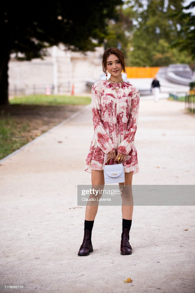 Elva Ni Wearing A Red And White Printed Dress Lilac Chloe Bag And News Photo Getty Images