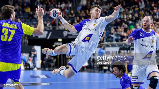 Elvar Oro Jonsson of Iceland throws the ball during the Main Group 1 match at the 26th IHF Men's World Championship between Brazil and Iceland at the...