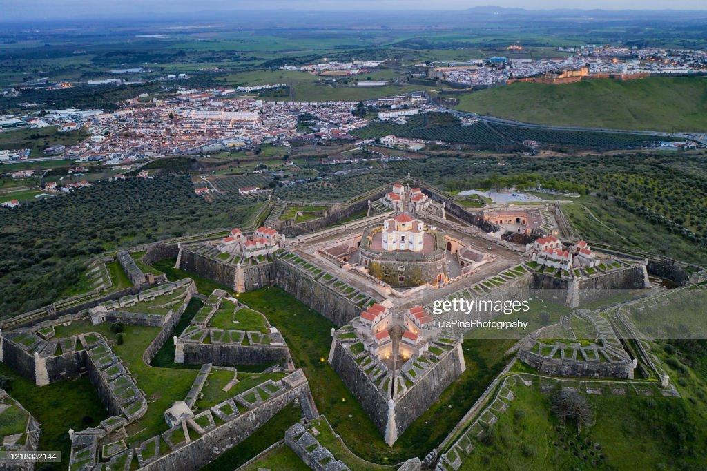 Elvas Fort drone aerial view of Forte Nossa Senhora da Graca in Portugal : Stock Photo