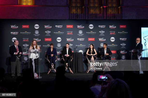 Elvi Cano speaks during the 5th Annual Premios PLATINO Of Iberoamerican Cinema Nominations Announcement at Hollywood Roosevelt Hotel on March 13 2018...