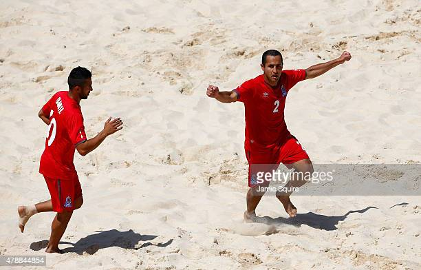 Elvin Eguliyev of Azerbaijan celebrates scoring a goal in the Men's Beach Soccer Classification match during day sixteen of the Baku 2015 European...