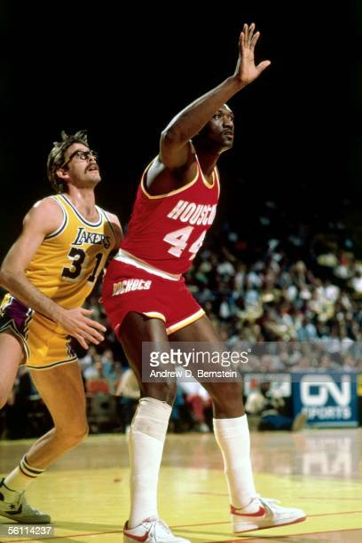 Elvin Hayes of the Houston Rockets posts up Kurt Rambis of the Los Angeles Lakers circa 1981 in Inglewood California NOTE TO USER User expressly...
