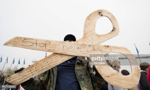 Elvin Lee a teacher from Lawton Oklahoma joints the teachers' rally at the state capitol on April 2 2018 in Oklahoma City Oklahoma Last week Gov Mary...