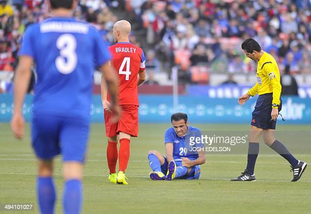 Elvin Yunuszade of Azerbaijan reacts after getting knocked down during a World Cup preparation match against the US at Candlestick Park in San...