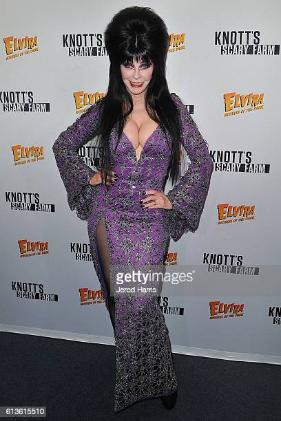 Elvira attends Knott's Scary Farm at Knott's Berry Farm on October 8 2016 in Buena Park California