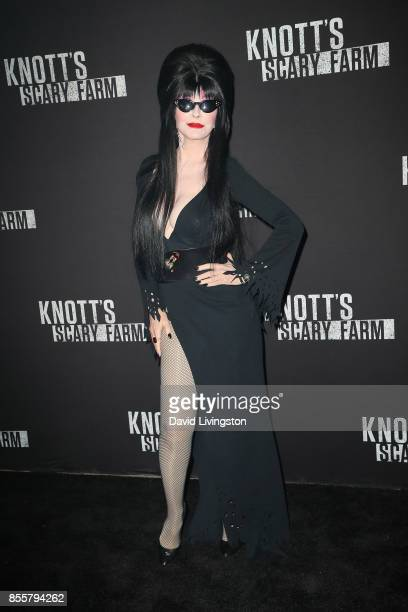 Elvira attends the Knott's Scary Farm and Instagram's Celebrity Night at Knott's Berry Farm on September 29 2017 in Buena Park California