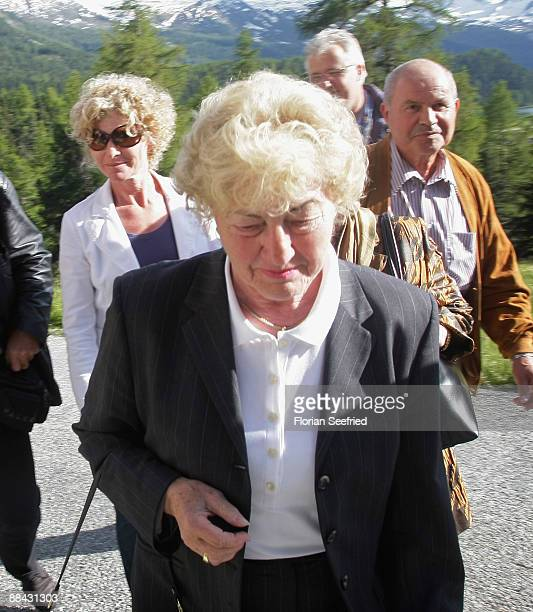 Elvira Becker , mother of Boris Becker, and Becker's sister Sabine arrive at the Regina Pacis chapel a day before the wedding of Boris Becker to...