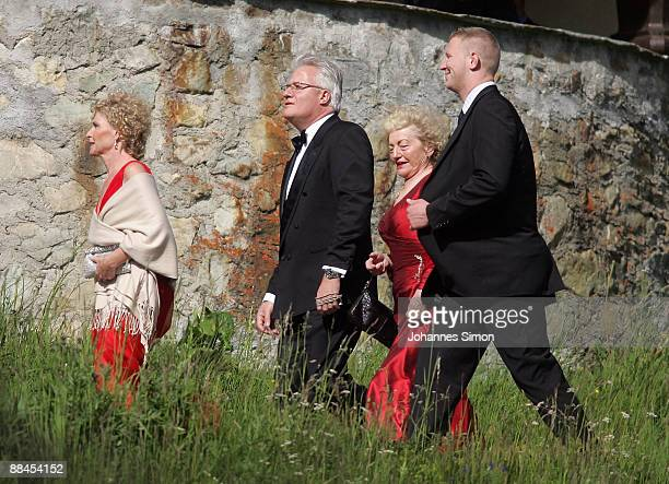 Elvira Becker , mother of former tennis star Boris Becker, Sabine Becker-Schorp , sister of Boris Becker and guests attend the church wedding of...