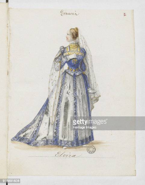 Elvira Costume design for the opera Ernani by Giuseppe Verdi 1845 Found in the collection of Bibliothèque Nationale de France