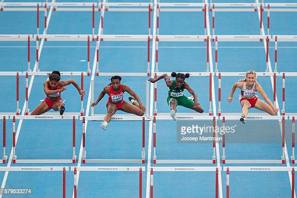 Elvira Herman from Belarus Oluwatobiloba Amusan from Nigeria Alexis Duncan from USA and Tia Jones from USA compete in women's 100 metres hurdles...