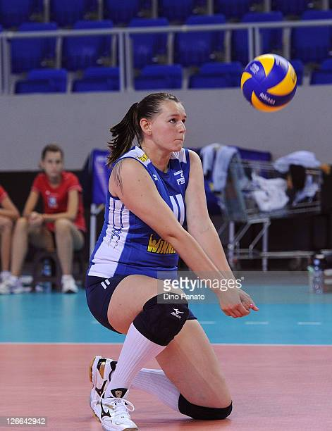 Elvira Kolnogorov of Israel saves against during the Women's Volleyball European Championship match between Israel and Czech Republic on September 26...
