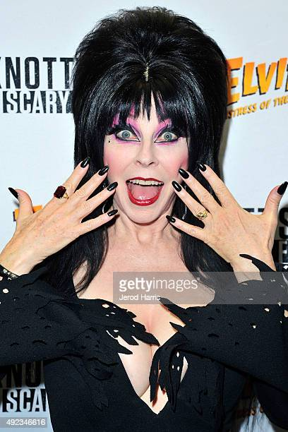 Elvira Mistress of the Dark attends Knott's Scary Farm at Knott's Berry Farm on October 11 2015 in Buena Park California