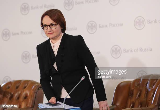 Elvira Nabiullina governor of Russia's central bank arrives for a news conference following an interest rate announcement in Moscow Russia on Friday...