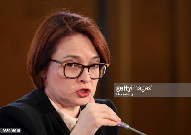 Elvira Nabiullina governor of Russia's central bank gestures as she speaks during a news conference following an interest rate announcement in Moscow...