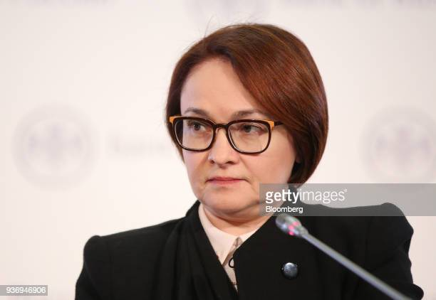 Elvira Nabiullina governor of Russia's central bank pauses during a news conference following an interest rate announcement in Moscow Russia on...