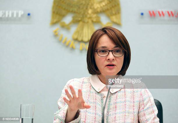 Elvira Nabiullina governor of Russia's central bank speaks during a news conference to announce the interest rate decision in Moscow Russia on Friday...