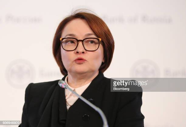 Elvira Nabiullina governor of Russia's central bank speaks during a news conference following an interest rate announcement in Moscow Russia on...