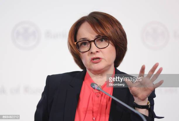 Elvira Nabiullina Russia's central bank governor gestures as she speaks during a news conference to announce interest rates in Moscow Russia on...