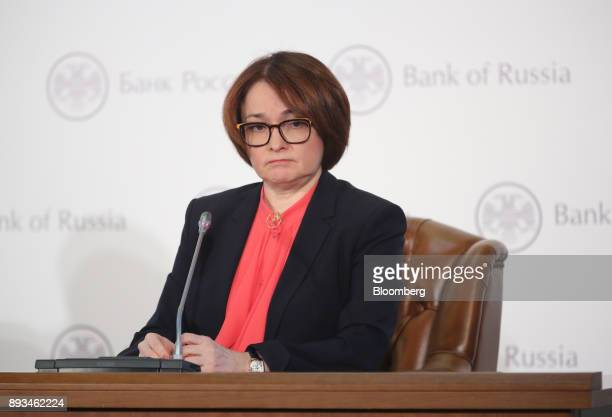 Elvira Nabiullina Russia's central bank governor pauses during a news conference to announce interest rates in Moscow Russia on Friday Dec 15 2017...