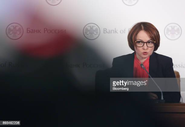 Elvira Nabiullina Russia's central bank governor speaks during a news conference to announce interest rates in Moscow Russia on Friday Dec 15 2017...