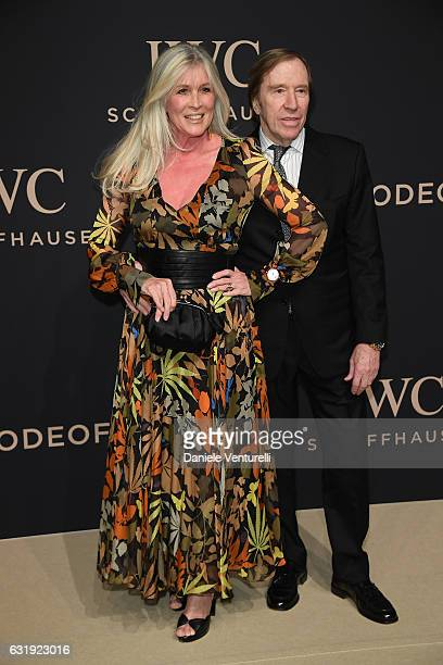 Elvira Netzer and Gunter Netzer arrive at IWC Schaffhausen at SIHH 2017 Decoding the Beauty of Time Gala Dinner on January 17 2017 in Geneva...