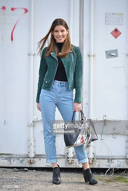 Elvire Mesegues poses wearing a Zara jacket and Prada bag before the Gucci show during the Milan Fashion Week Fall/Winter 2016/17 on February 24 2016...